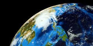 Niezwykle realistyczna i szczegółowa wysoka rozdzielczość 3D ilustracja tajfunu ciupnięcia chiny kontynentalni Strzał od przestrz Ilustracja Wektor