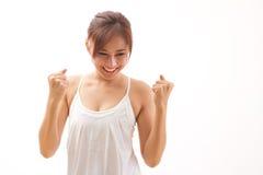 Niezwykle szczęśliwa kobieta z ciała akcją fotografia stock