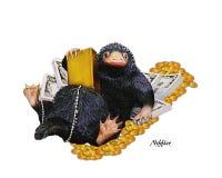 Niffler, иллюстрация a Niffler & деньги Изображение на transrarent фоне стоковые фотографии rf