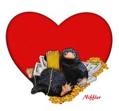 Niffler, comic, funny, cute illustration a Niffler & money & heart. Image with red heart backdrop. Valentine card illustration. royalty free stock images