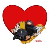Niffler, ejemplo cómico, divertido, lindo a Niffler y dinero y corazón Imagen con el contexto rojo del corazón Ejemplo de la tarj imágenes de archivo libres de regalías