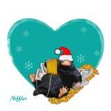 Niffler - santa, comic, funny, cute illustration a Niffler & money. Image on winter, new year backdrop. Christmas illustration.