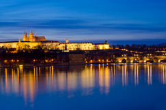 Nifht Vltava River,Charles Bridge,Prague castle Stock Photos