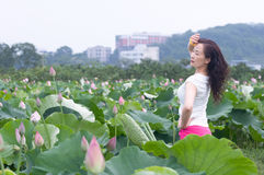 Nifty woman in lotu field Stock Image