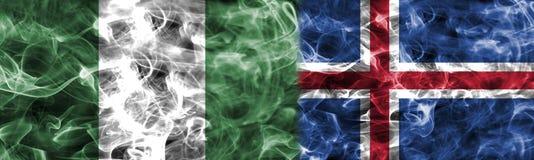 Nigéria contra a bandeira do fumo de Islândia, grupo D, campeonato do mundo 2018 do futebol, Ilustração Royalty Free