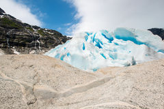 Nigardsbreen Glacier with rock formations, Jostedalsbreen, Norway Stock Image