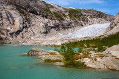 Nigardsbreen glacier in summer, Norway Stock Images