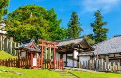 Nigatsu-font, un hall de temple de Todai-JI à Nara Images libres de droits