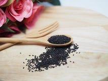 Nigella漂白亚麻纤维或黑色小茴香 库存照片