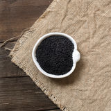 Nigella sativa or Black cumin in a bowl Stock Image