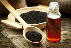 Nigella sativa oil Stock Photo