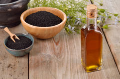 Nigella sativa olie Royalty-vrije Stock Afbeelding