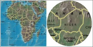 Niger and Africa map Stock Image