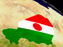 Niger with flag on Earth Stock Photo