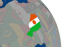 Niger with flag on globe Royalty Free Stock Photos