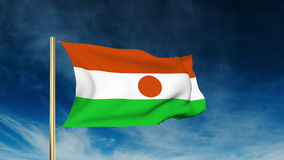 Niger flag slider style. Waving in the wind with royalty free illustration