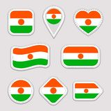 Niger flag vector set. Nigerian national flags stickers collection. Vector isolated geometric icons. Web, sports pages, patriotic, stock illustration
