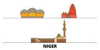 Niger flat landmarks vector illustration. Niger line city with famous travel sights, skyline, design. Niger flat landmarks vector illustration. Niger line city vector illustration