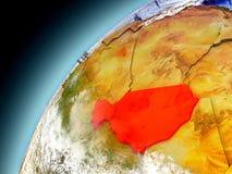 Niger från omlopp av modellen Earth Arkivfoton