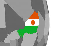 Niger on globe with flag Stock Photo