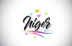 Niger Handwritten Vetora Word Text com borboletas e Swoosh colorido ilustração stock