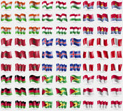 Niger, Hungary, Kiribati, Morocco, Iceland, Peru, Malawi, Guyana, Indonesia. Big set of 81 flags. Stock Photo