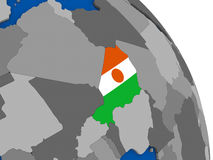Niger and its flag on globe Royalty Free Stock Images