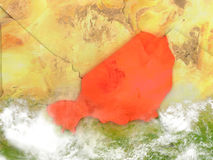 Niger on map with clouds Stock Image
