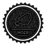 Niger Map Label avec la conception dénommée rétro par vintage Images libres de droits
