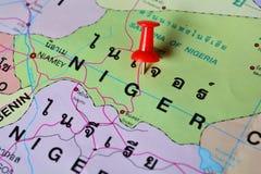 Niger map. Macro shot of niger map with push pin Stock Image