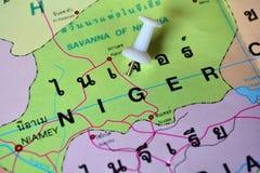 Niger map. Macro shot of niger map with push pin Royalty Free Stock Images