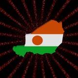 Niger mapy flaga na czerwonej hex kodu wybuchu ilustraci Zdjęcie Stock