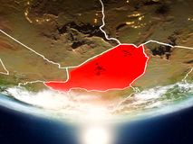 Niger mit Sonne auf Planet Erde Stockfotos
