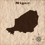 Niger old map with grunge and crumpled paper. Vector illustration Stock Photos