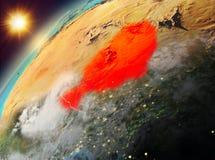Niger op aarde in zonsondergang Stock Afbeelding