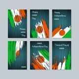 Niger Patriotic Cards per la festa nazionale royalty illustrazione gratis