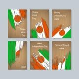 Niger Patriotic Cards voor Nationale Dag Stock Foto's