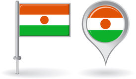 Niger pin icon and map pointer flag. Vector Stock Photography