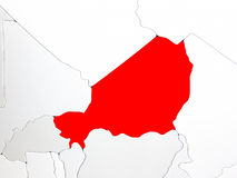 Niger in red on map Stock Image