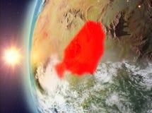 Niger tijdens zonsondergang van ruimte Royalty-vrije Stock Fotografie