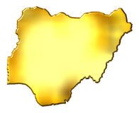 Nigeria 3d Golden Map Royalty Free Stock Image