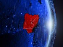 Nigeria auf blauer blauer digitaler Erde lizenzfreies stockfoto