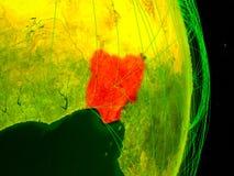 Nigeria auf digitaler Erde stockfotografie