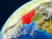 Nigeria auf Erde mit Grenzen lizenzfreies stockfoto