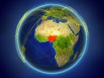 Nigeria auf Erde mit Netzen stockfoto