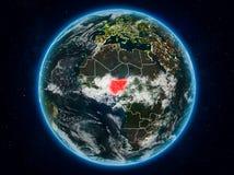 Nigeria auf Erde nachts lizenzfreie stockfotos