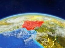 Nigeria auf Erde vom Raum lizenzfreie stockbilder