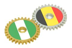 Nigeria and Belgium relations concept, flags on a gears. 3D rend Royalty Free Stock Photos