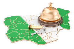 Nigeria booking concept. Nigerian flag with hotel key and recept Stock Photos