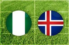 Nigeria contra partido de fútbol de Islandia stock de ilustración